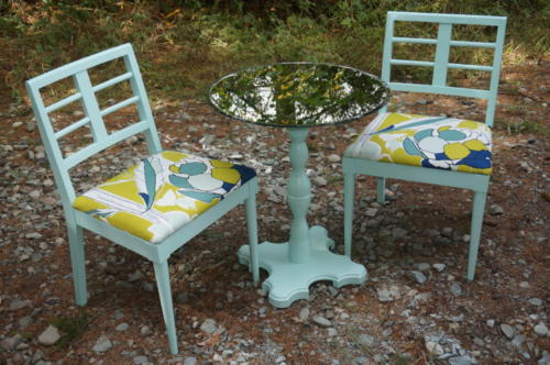 Repainted and recovered chairs and matching table from mirror