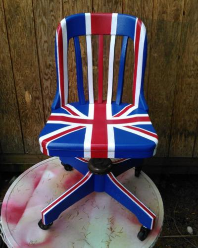 Salvaged wood office chair painted with Union Jack